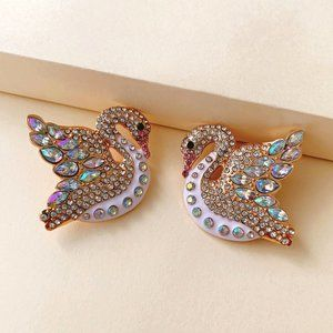 Creative Full Diamond Swan Personality Earrings